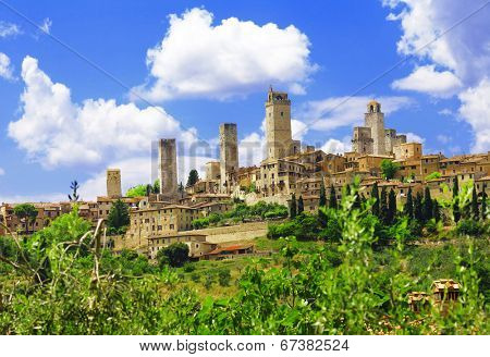 beautiful Tuscany - San Gimignano medieval skyscrapers, Italy