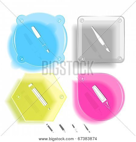 Education icon set. Felt pen, brush, pencil, ink pen. Glass buttons. Vector illustration. Eps10.
