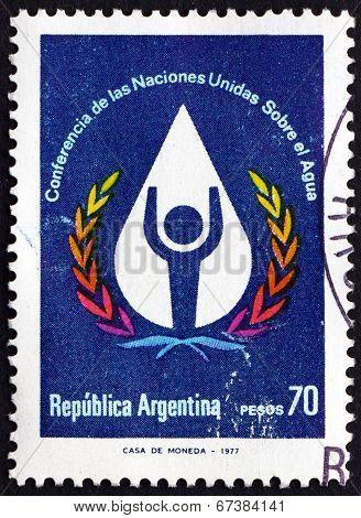 Postage Stamp Argentina 1977 Water Conference Emblem