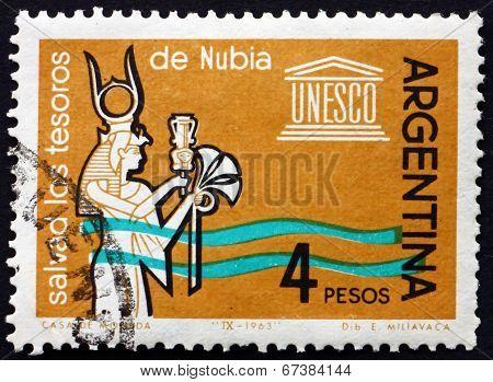 Postage Stamp Argentina 1963 Queen Nefertari