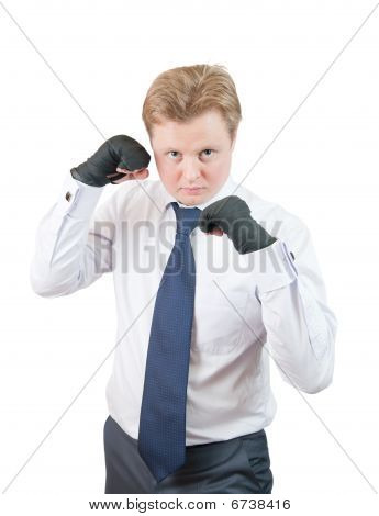 Handsome Businessman Boxer