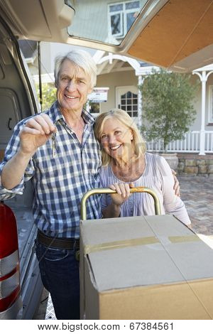 Senior couple moving house