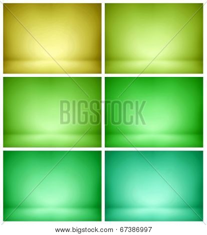 Abstract illustration background texture of beauty set with dark, light blue, azure, pistachio, cyan, turquoise, green, olive, yellow gradient wall, flat floor in empty spacious darken room interior