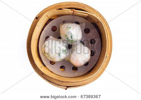 Chinese Dimsum Steamer Prawn Isolated On White Background