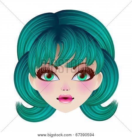 Doll Face. Vector Illustration.