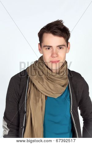 young man in casual clothes isolated on white background