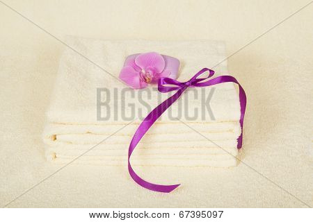 The bathing accessories and orchid flower