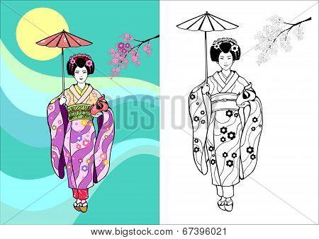 Japanese Girl, Geisha With Umbrella