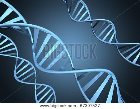 Genetics concept depicting magnified double helix DNA strands