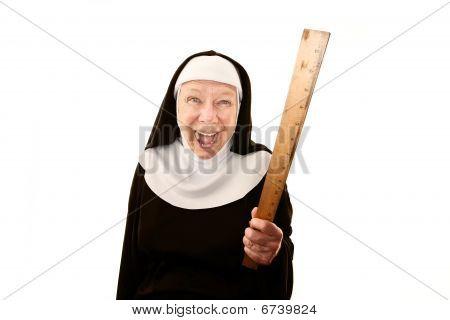 Laughing Nun Brandishing A Ruler