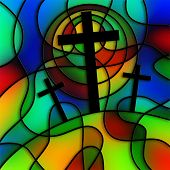 stock photo of calvary  - I have created this calvary cross image digitally and tried to make it look like stained glass - JPG