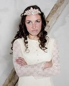 pic of cinderella  - brunette woman dressed as cinderella looking upset