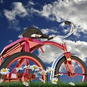 pic of tricycle  - illustration of a red tricycle on green grass - JPG