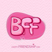 foto of bff  - Glossy text BFF on vintage pink background for Happy Friendship Day - JPG