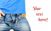 picture of condom  - Man in jeans unzipped with a condom in pocket with space for text - JPG