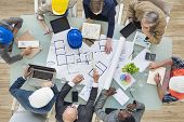 pic of engineering construction  - Architects and Engineers Planning on a New Project - JPG