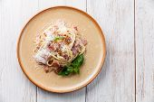 image of carbonara  - Pasta Carbonara with parmesan on wooden background - JPG