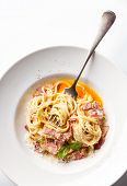 pic of carbonara  - Pasta Carbonara on white plate with parmesan and yolk - JPG