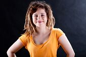 picture of dread head  - Cool girl in yellow t - JPG