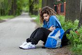 picture of rasta  - Young depressed rude girl probably has a addiction problem - JPG