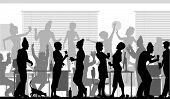stock photo of office party  - Editable vector silhouettes of business people at an office party with all elements as separate objects - JPG