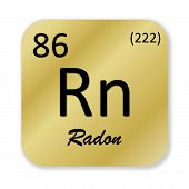 stock photo of rn  - Black radon element into golden square shape isolated in white background - JPG