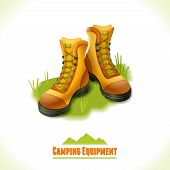 image of boot camp  - Camping summer outdoor activity concept equipment hiking boots symbol vector illustration - JPG
