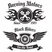 picture of chopper  - Motorcycle grunge black riders burning motors labels set isolated vector illustration - JPG