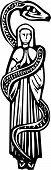 stock photo of serpent  - Woodcut style image of the Christian Mary wrapped in a serpent - JPG