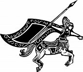 pic of valkyrie  - Woodcut style image of a female centaur with a spear - JPG