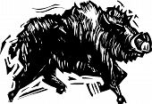 picture of tusks  - Woodcut style image of a wild boar with tusks - JPG