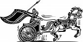 foto of charioteer  - Woodcut style image of a Norse viking Valkyrie riding a chariot - JPG