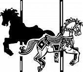 foto of wooden horse  - Woodcut style image of a wooden carousel horse in two directions - JPG
