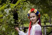pic of national costume  - girl in ukrainian national costume posing outdoors