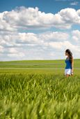 picture of girl walking away  - Image of a girl in a wheat field standing in the distance looking away over the countryside under a cloudy blue sky - JPG