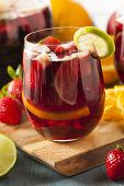 pic of sangria  - Homemade Delicious Red Sangria with Limes Oranges and Apples - JPG