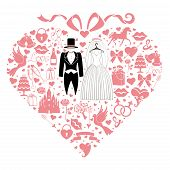 foto of wedding feast  - Composition in the shape of heart with bow on top - JPG