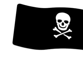 stock photo of skull crossbones flag  - Pirate Black Flag with white Skull and Crossbones sign on white background - JPG