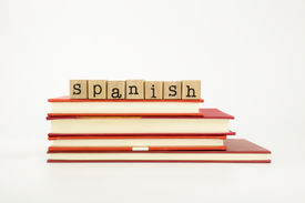 pic of dialect  - spanish word on wood stamps stack on books language and academic concept - JPG