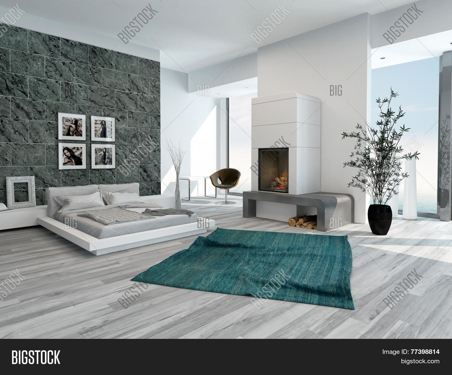 3d rendering of stylish modern bedroom interior with a