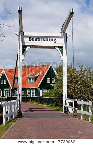 Beatrix Bridge In Village Marken