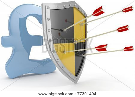 Security shield protects money British pound currency financial security