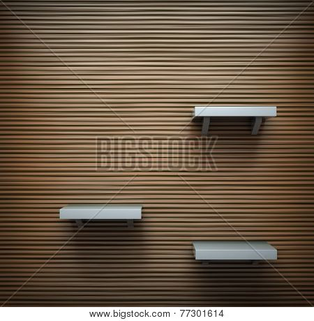 Contemporary wooden wall with a few shelves on it.