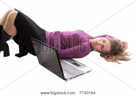 Businesswoman Sleeping By Computer