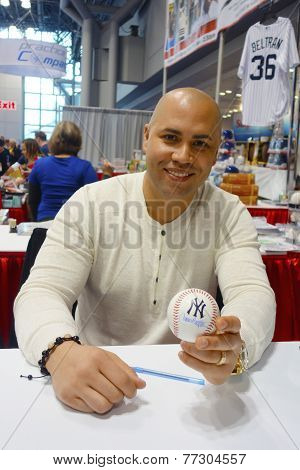 New York Yankees player Carlos Beltran during autographs session in New York