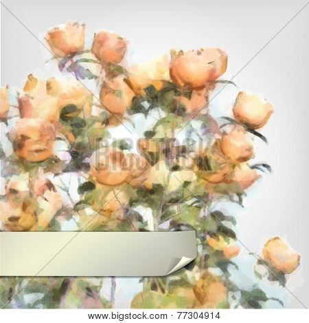Vector Flower Watercolor Roses Bush