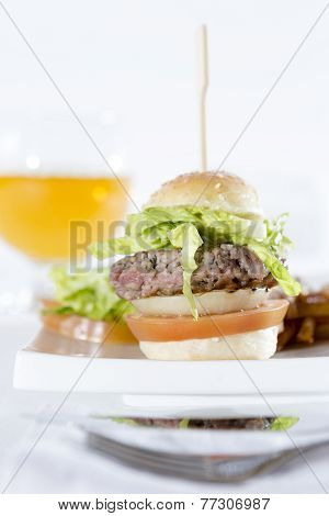 Hamburger With Beer