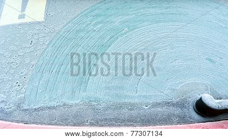Abstract Background. Screen Wiper Traces On Frostiness Car Glass 2.