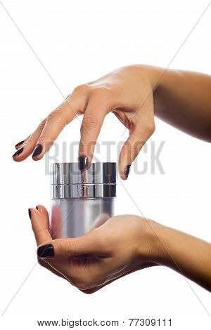 Hands Opening Cosmetic Jar