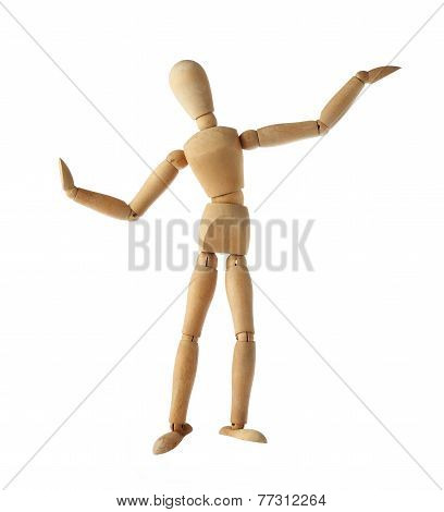 mannequin old wooden dummy dancing thai style isolated on white